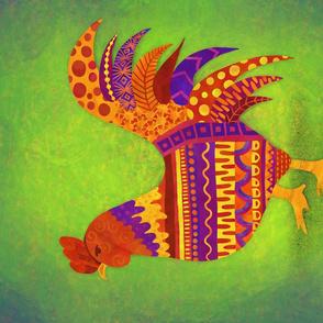 Folk Art Rooster tea towel
