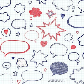 Pattern  with handwriting speech bubbles
