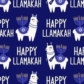 Llamakah fabric - happy hanukkah fabric, happy llamakah fabric - holiday fabric, -  dark blue