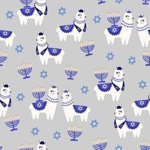 llamakah fabric - happy hanukkah llamas fabric, jewish fabric, llama fabric, holiday fabric - light grey