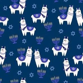 llamakah fabric - happy hanukkah llamas fabric, jewish fabric, llama fabric, holiday fabric -dark blue