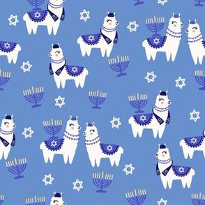 llamakah fabric - happy hanukkah llamas fabric, jewish fabric, llama fabric, holiday fabric - blue