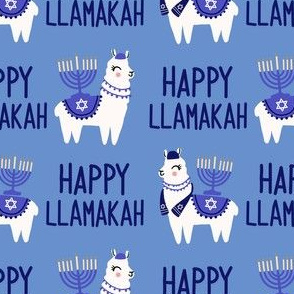 Llamakah fabric - happy hanukkah fabric, happy llamakah fabric - holiday fabric, - blue