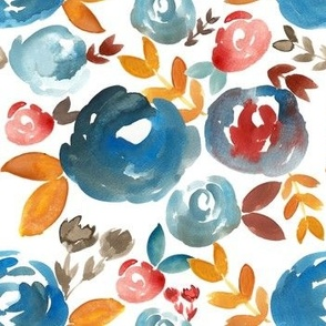 Fall Rust Blue and Gold watercolor floral - small
