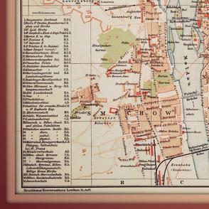 Prague map - antique, large