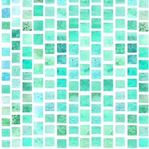 Watercolor Squares - Blue Green