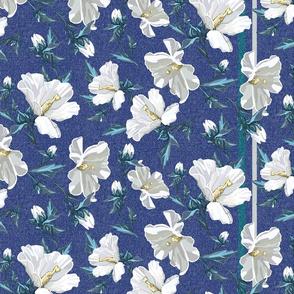 Small Rose of Sharon | Blue w/ Cool Green Stripe Stripe