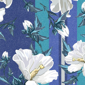 Large Rose of Sharon | Blue w/ Teal  Stripes