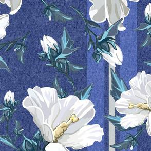Large Rose of Sharon | Blues w/ Neutral Stripe