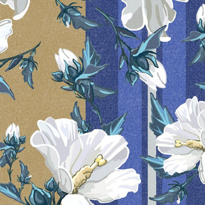 Large Rose of Sharon | Golden w/Blue + Neutral Stripes