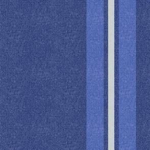 Large Blue + Neutral Stripes w/Faux Texture