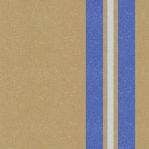 Large Golden + Blue + Neutral Stripes w/Faux Texture