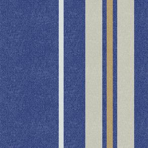 Large Blue + Neutral + Golden Stripes w/Faux Texture