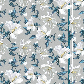 Small Rose of Sharon | Natural w/ Teal + White Stripe