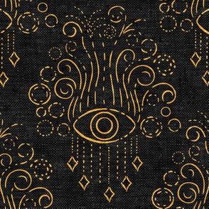 eyes adorned - black & yellow woven - bohemian eyes - LAD19