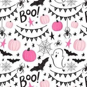 Cute Pink and Black Halloween Ghosts & Pumpkins