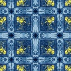 Hibiscus Square Blue Grey