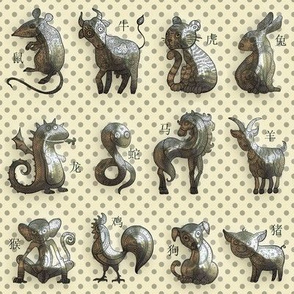 3D SMALL CHINESE ZODIAC cute ANIMALS ON PALE YELLOW FLWRHT METALLIC EFFECT