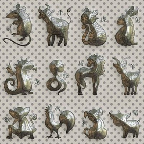 3D SMALL CHINESE ZODIAC ANIMALS ON TAUPE BEIGE FLWRHT METALLIC EFFECT