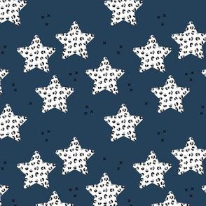 Leopard print stars seasonal Christmas ornaments december palette animal print navy blue neutral gray night