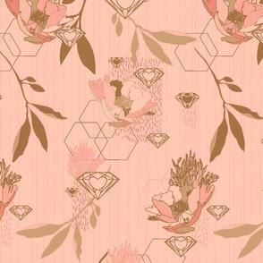 Peonydiamond in rosestripes, small