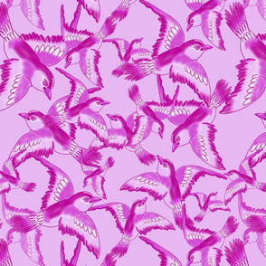 Blooming garden birds - pink