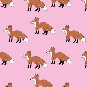 Little Fox forest love sweet fall winter design pink rust copper girls