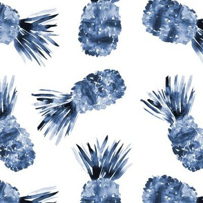 Indigo pineapples • watercolor blue tropical pattern for nursery