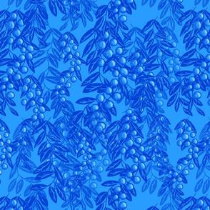 Blooming garden berries - blue