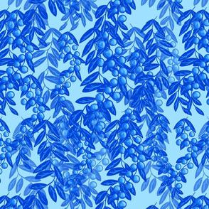Blooming garden berries- light blue