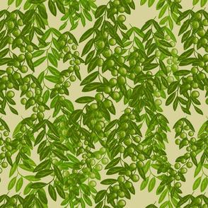 Blooming garden berries- moss green