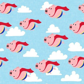 superhero pigs - when pigs fly - flying pigs - light blue - LAD19