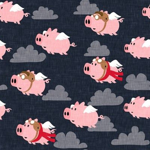 flying pigs - aviator caps and glasses - when pigs fly - cute pigs - dark blue - LAD19