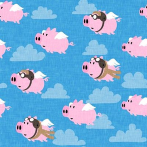 flying pigs - aviator caps and glasses - when pigs fly - cute pigs - bright blue - LAD19