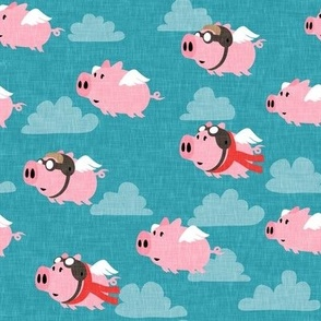 flying pigs - aviator caps and glasses - when pigs fly - cute pigs - blue with red scarf - LAD19