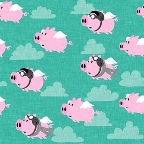 flying pigs - aviator caps and glasses - when pigs fly - cute pigs - teal with grey scarf - LAD19