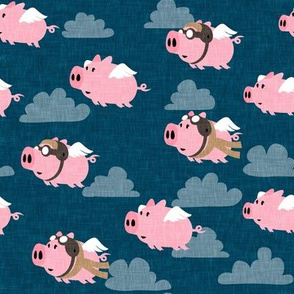 flying pigs - aviator caps and glasses - when pigs fly - cute pigs - blue 2 - LAD19