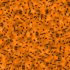 scattered music notes on orange