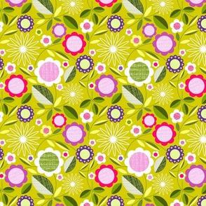 flower field on chartreuse