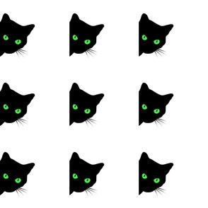 Peek-a-Boo Black Cat - green eyes on white