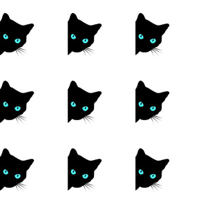 Peek-a-Boo Black Cat - blue, turquoise eyes on white