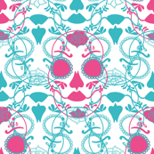 Glamourous Halloween rococo pink and turquoise skull