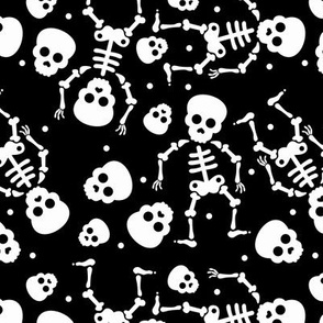 Little skulls and skeleton day of the dead halloween October fall design black and white monochrome