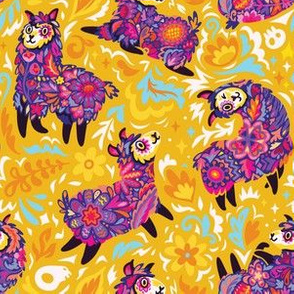 Floral alpacas on yellow