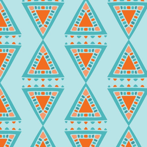 Tribal Triangle - orange turquoise