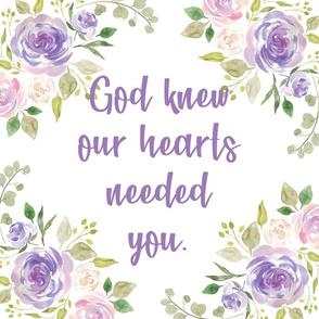 "lavender god knew our hearts 6 loveys 18x18"""