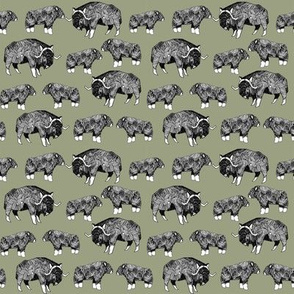 SMALL - musk ox fabric // arctic animal fabric canada alaska greenland - artichoke