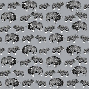 SMALL - musk ox fabric // arctic animal fabric canada alaska greenland - grey