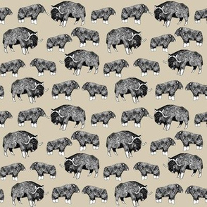 SMALL - musk ox fabric // arctic animal fabric canada alaska greenland - khaki
