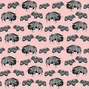SMALL - musk ox fabric // arctic animal fabric canada alaska greenland - pastel pink